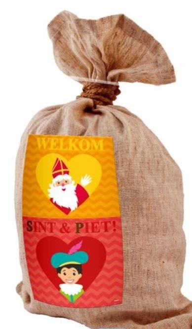 Jute cadeau- strooizak Sinterklaas en Piet Medium