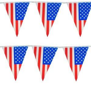 Vlaggenlijn Amerika met Amerikaanse vlaggen feestversiering 10 m