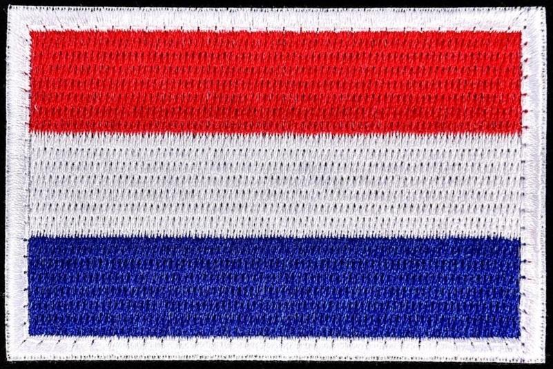 Patch Nederlandse vlag geboorduurd 5x8cm