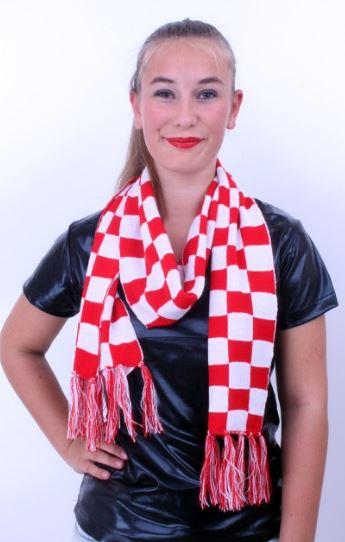 Shawl Brabants Bont rood/wit geblokt sjaal, 19x160cm