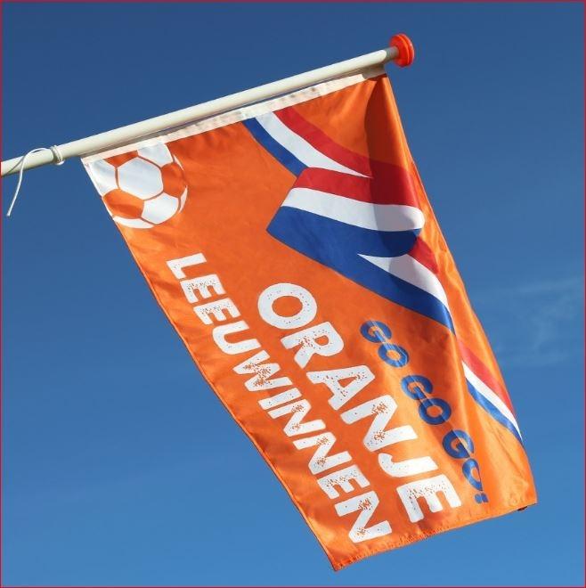 Leeuwinnen vlag oranje dames voetbal 200x300cm mastvlag