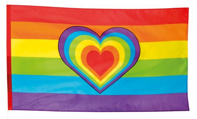 Regenboogvlag met hart, Vredesvlag 90x150cm