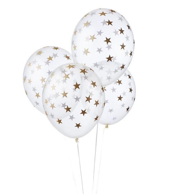 Ballonnen clean met goudkleurige sterretjes 6 stuks