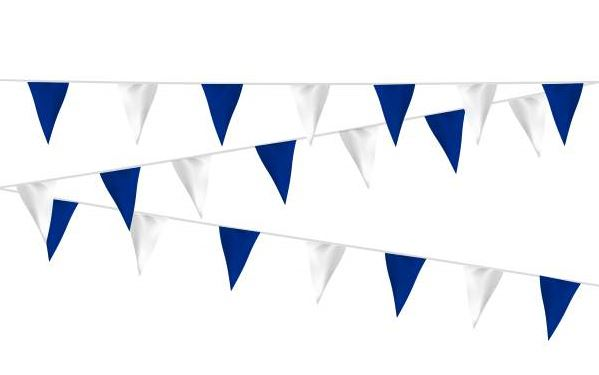 Vlaggenlijn blauw/wit, wit/blauw stof 20m, extra zware kwaliteit