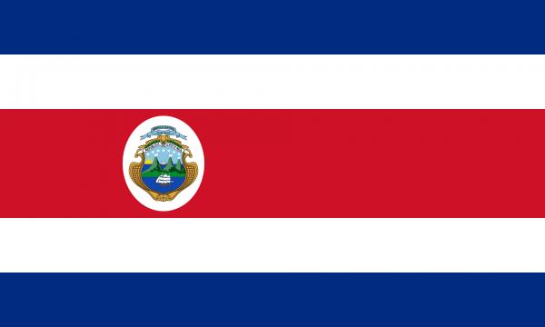 Vlag Costa Rica Met Wapen 100x150cm Glanspoly