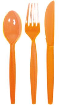 Oranje wegwerp bestek messen vorken lepels 24 stuks