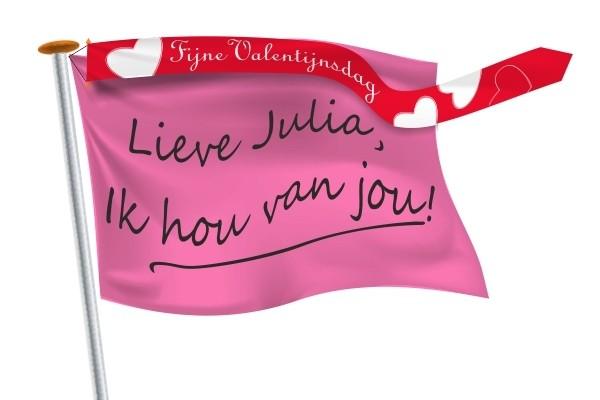 Wimpel Valentijn valentijnsdag 300x25 met roze DIY vlag