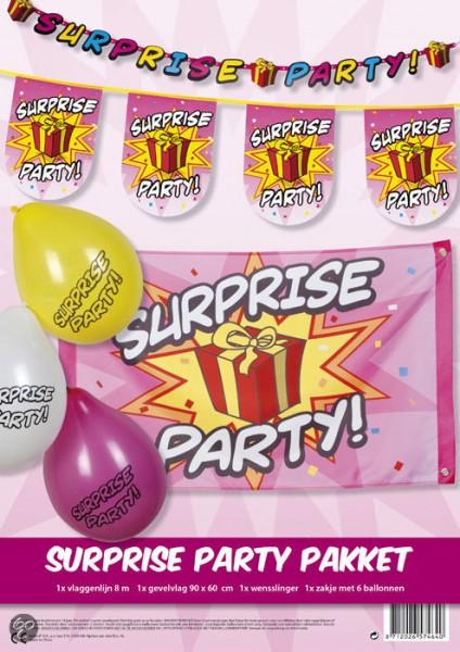 feestversiering pakket SURPRISE PARTY ballonnen, vlaggen, slingers