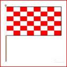 Zwaaivlag Start rood wit geblokt 45x70cm met stok van 75cm