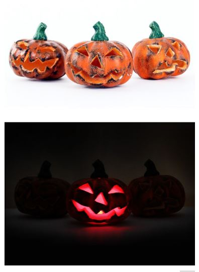 Halloween pompoen met licht 3 assorti