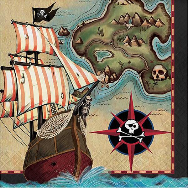 Pak 16 servetten thema piraten schatkaart parate's map