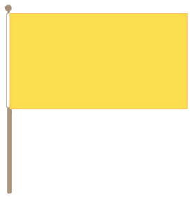 Tafelvlag geel, gele tafelvlag 10x15 cm met lus en koordje, zonder stok.