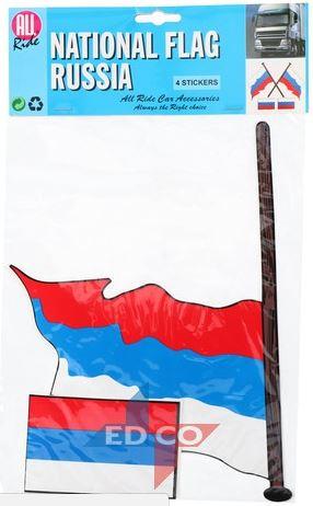 Vlag sticker Rusland 4 stuks, 2 varianten