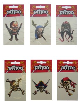 Piraten tattoo's 6 verschillende
