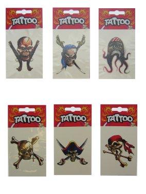 Piraten tattoo's 6 verschillende