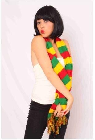 Sjaal Mestreech gebreid rood/geel/groen