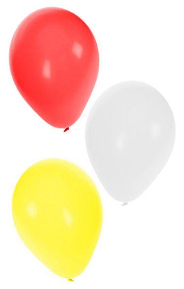Ballonnen Carnaval Oeteldonk rood/wit/geel 100 stuks