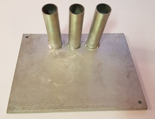 Vlaggen standaard trio van thermisch verzinkt staal halstandaard drieling