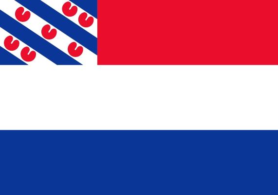 Vlag Nederland met inzet Friese vlag 100x150cm spunpoly