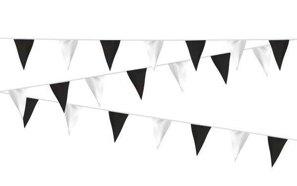 Vlaggenlijn zwart/wit, wit/zwart stof 20m, extra zware kwaliteit