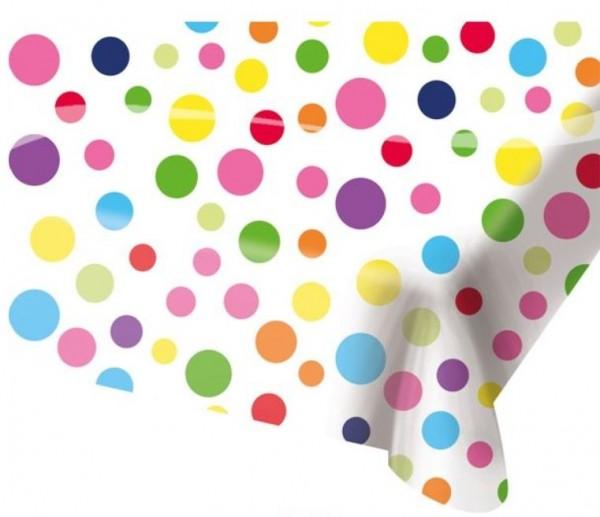 tafelkleed stippen in vrolijke kleuren 130x180cm
