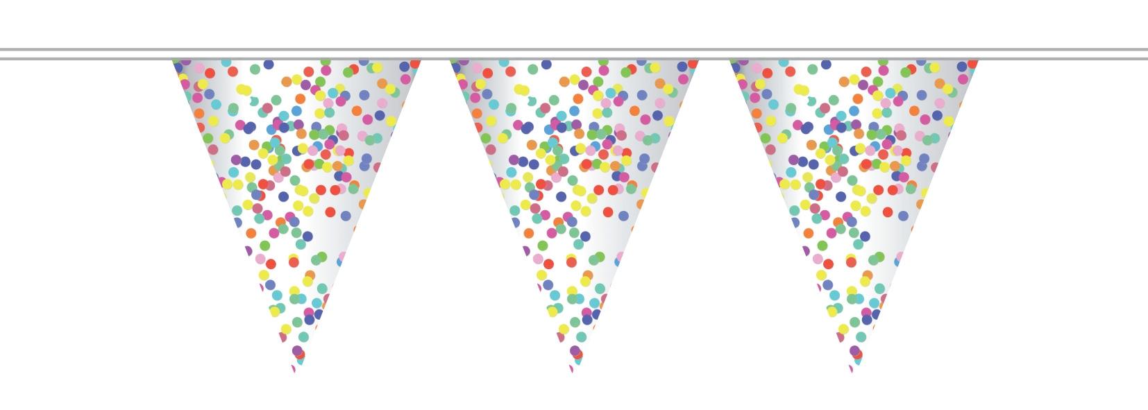 Vlaggenlijn transparant Confetti 10 meter