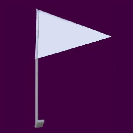 Luxe witte autovlag met witte stok