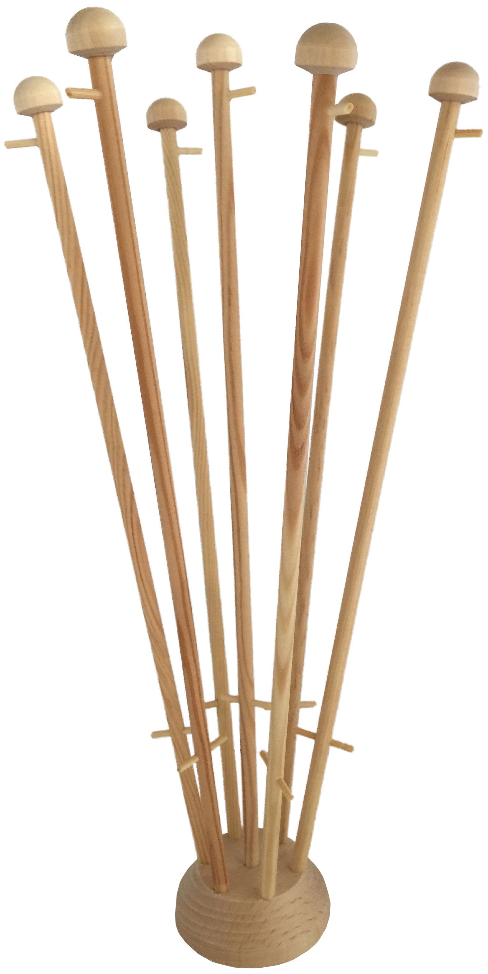 Houten tafelstandaard voor zeven tafelvlaggen met gat in midden met mastjes van voor