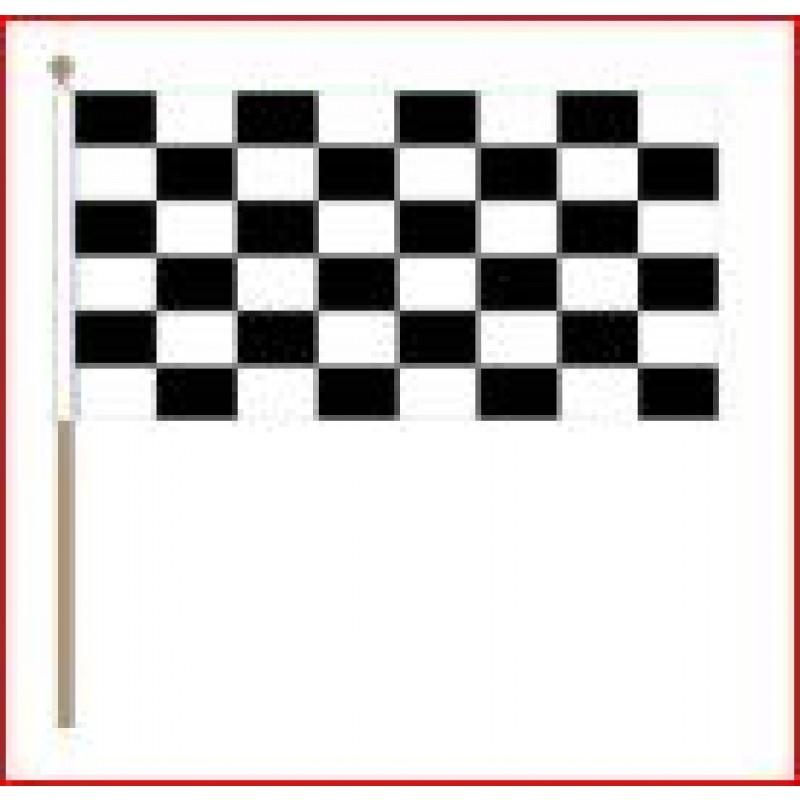 Zwaaivlag Finish XXL zwart wit geblokt 90x150cm met stok van 135cm