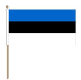 Zwaaivlag Estland, Estlandse fanvlag 30x45cm, stoklengte 60cm