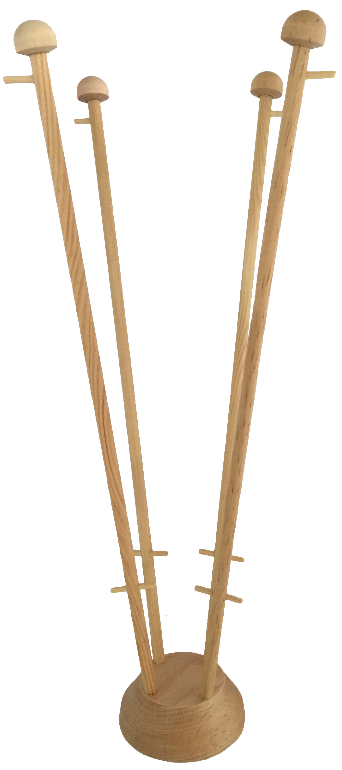 houten tafelstandaard met vier gaten voor tafelvlaggen met mastjes