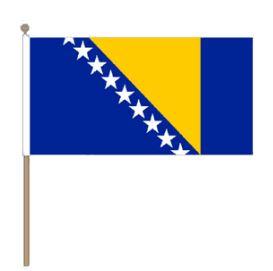 Zwaaivlag Bosnië en Herzegovina, Bosnische fanvlag 30x45cm, stoklengte 60cm