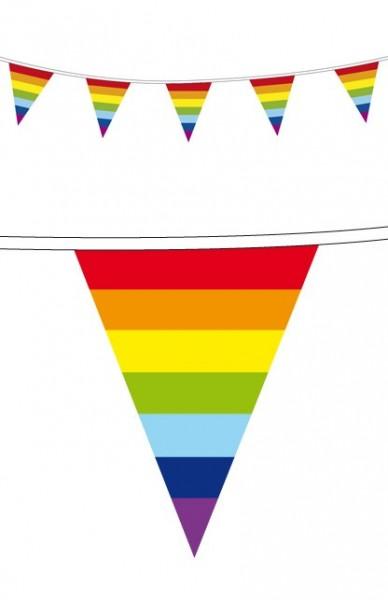 vlaggenlijn Regenmboog 10m wimpel uitvoering