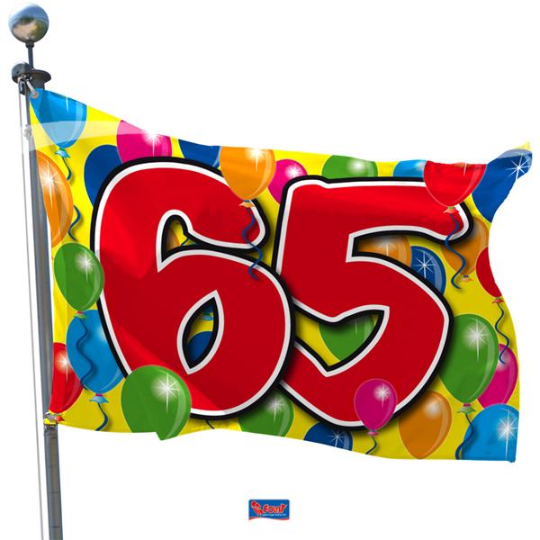 Vlag 65 voor iedereen die jarig is en 65 jaar is geworden gefeliciteerd 60x90cm