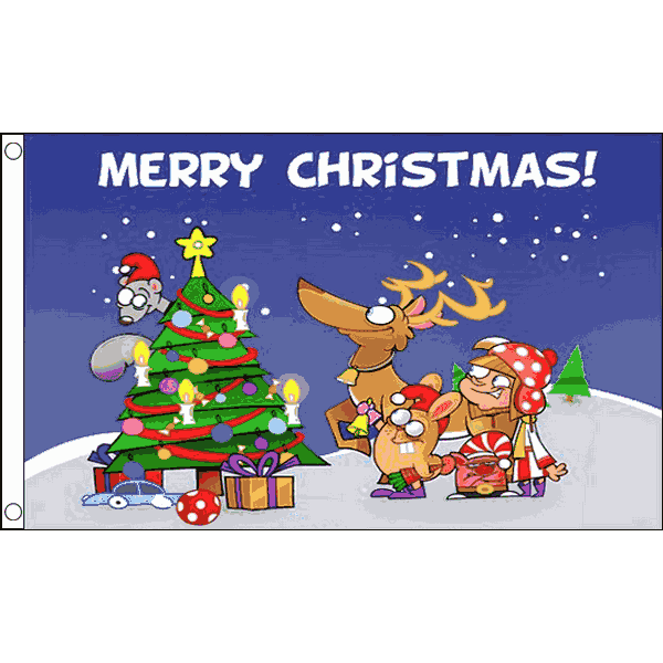 Kerstvlag Merry Christmas Cartoon 90x150cm