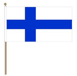 Zwaaivlag Finland, Finse fanvlag 30x45cm, stoklengte 60cm