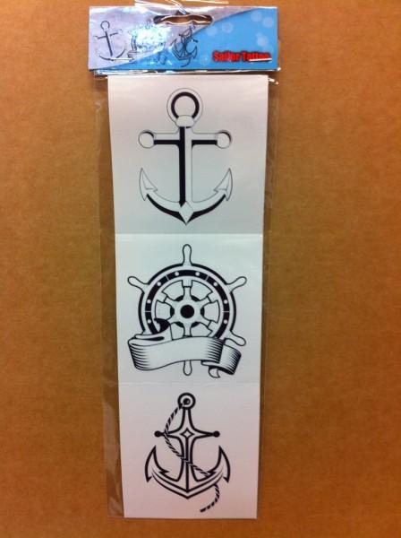 Tattoo Sailor anker en stuurwiel 3 stuks Popye Piraten