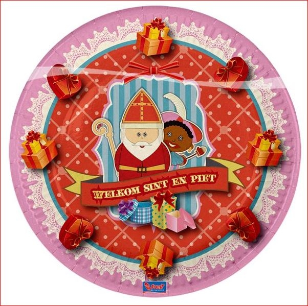 Sinterklaas wegwerp bordjes karton 6 stuks
