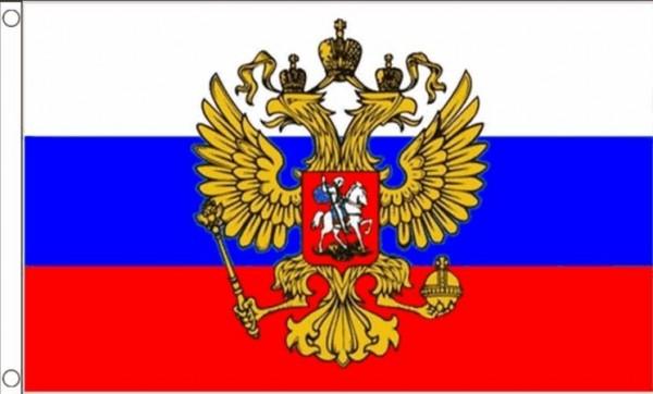 Vlag Rusland met wapen 60x90cm