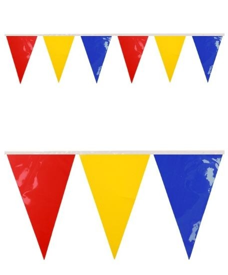Vlaggenlijn Rood Geel Blauw BRANDVERTRAGEND 10m