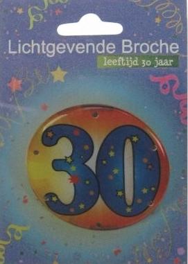 lichtgevende broche met tekst 30 jaar