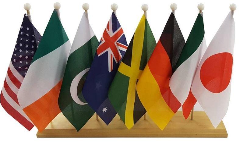 Tafelstandaard langwerpig voor zes tafelvlaggetjes gevuld