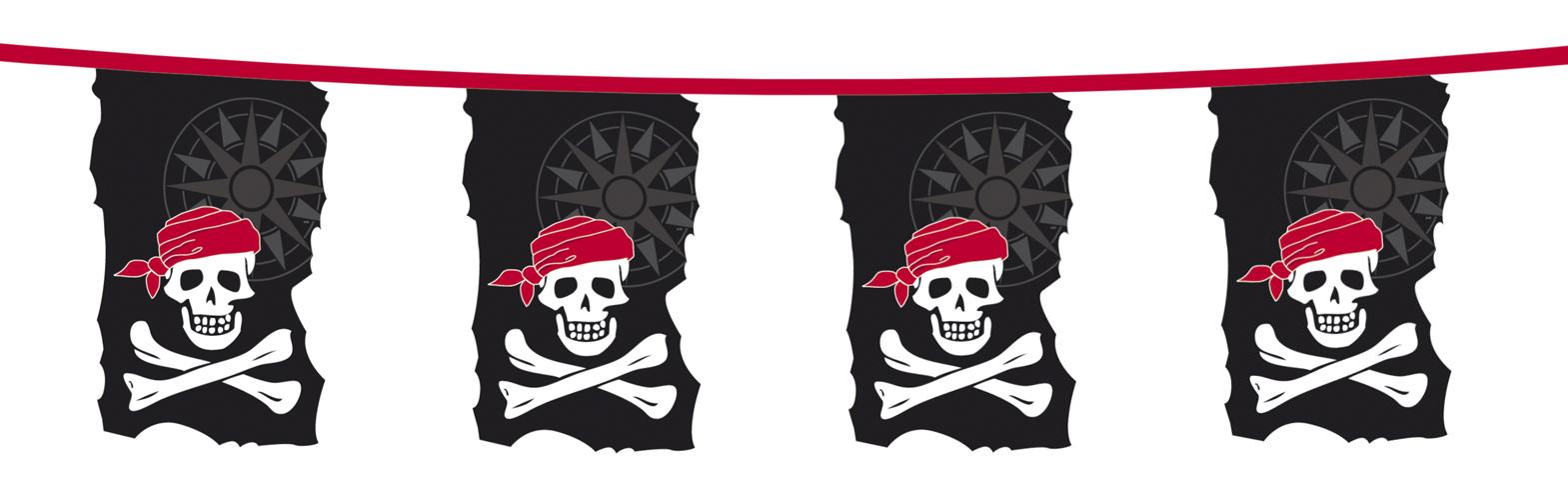 Piraten vlaggenlijn Skull Island 10m