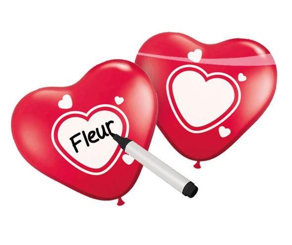 Ballonnen rood hartvormig met een wit hart om in te schrijven 6 stuks