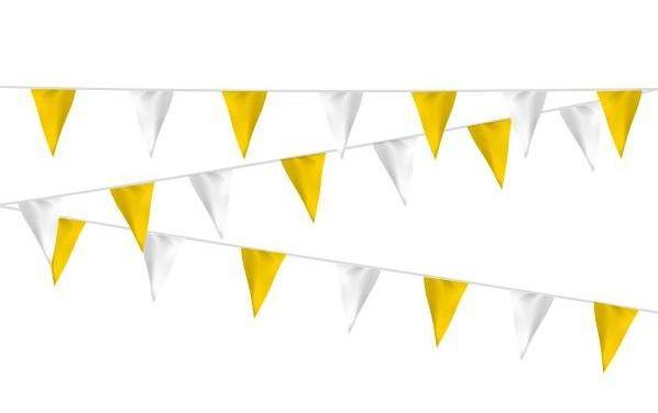 Wimpellijn geel/wit, wit/geel stof 20m, extra zware kwaliteit
