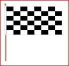 Zwaaivlag Finish 45x70cm op houten stok lengte 75cm zwart/wit geblokt