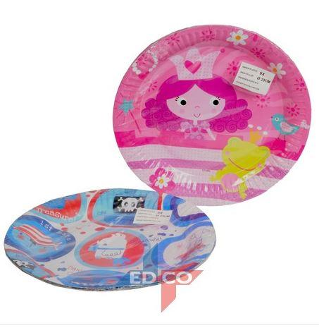 Roze kartonnen bordjes Prinses met kikker en vogeltje 6 stuks