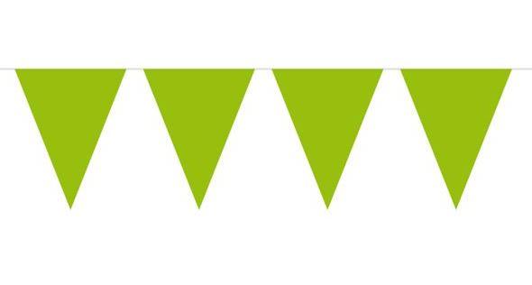 Vlaggenlijn lime groen, appeltjesgroen PE wimpels 10m