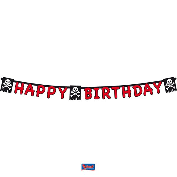 Piraten vlaggenlijn Happy Birthday letterslinger
