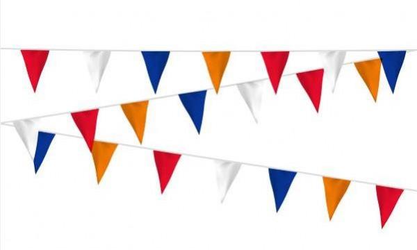 Vlaggenlijn rood/wit/blauw/oranje stof 20m, extra zware kwaliteit